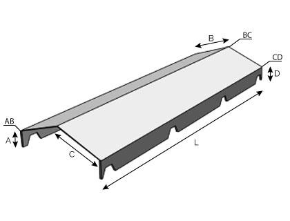 BC14 - Faîtière double, crantée pour bac acier